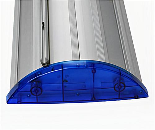 Close up image of blue banner stand end caps.
