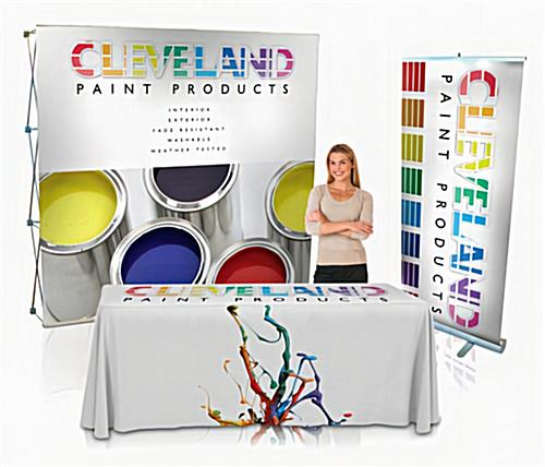 Basic trade show kit with backdrop, banner stand, and table cover