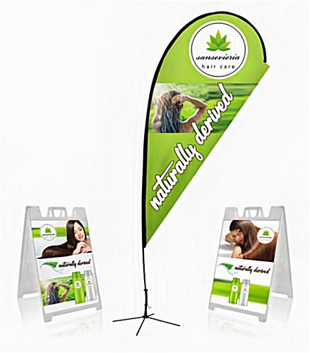 Outdoor display package includes two sidewalk signs and one teardrop banner.