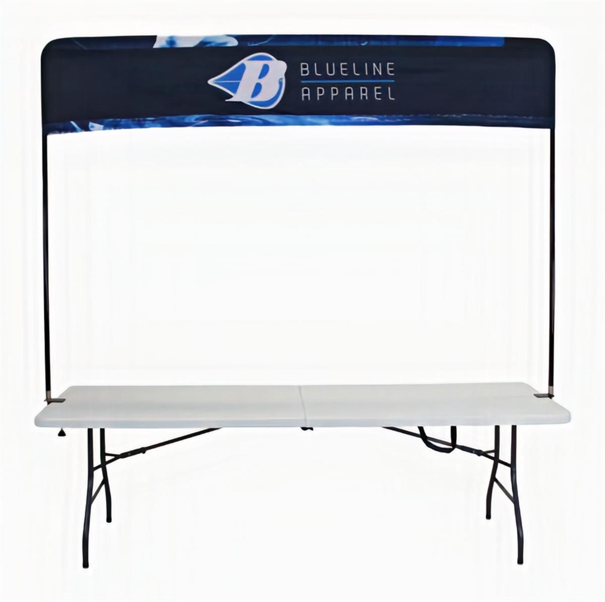 Table header frame with custom printed graphics