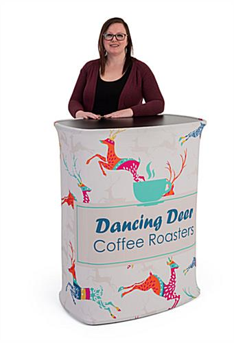 Rectangular podium counters with printed wraps