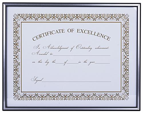 11x14 Aluminum Diploma Frame Black With Silver Border Accent