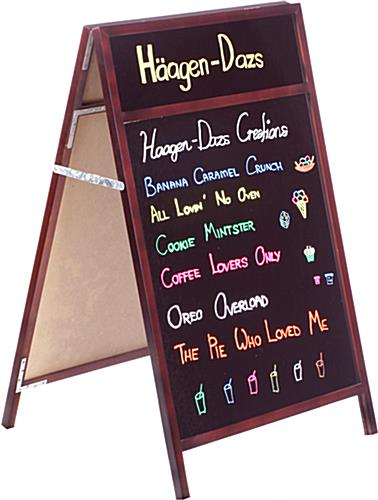24 x 28 A-frame Chalkboard, Black Surface for Wet Erase, Headers, 2 Sided -  Mahogany
