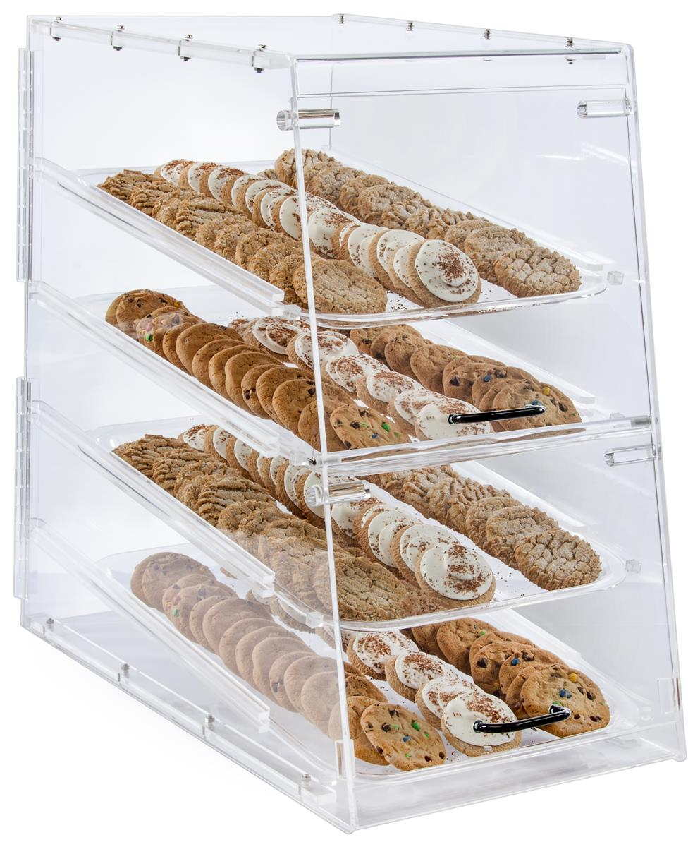 Displays2go Acrylic Food Display Case for Bakery, (4) Tra...