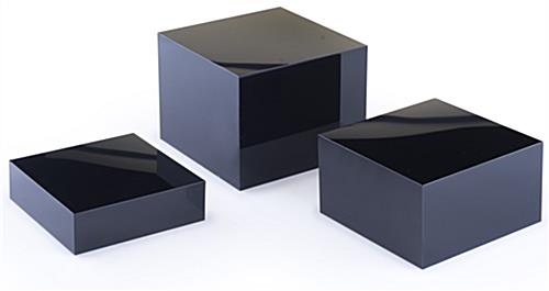 Acrylic Cube Display Set of 3 Shiny Black Risers