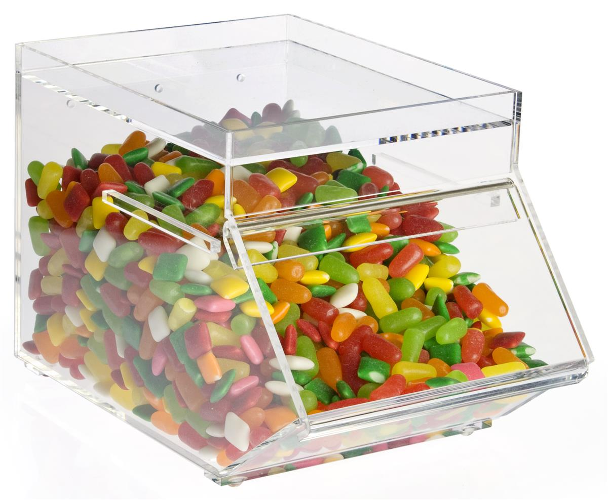 Displays2go 1 Gallon Acrylic Candy Bin with a Slide-in Door