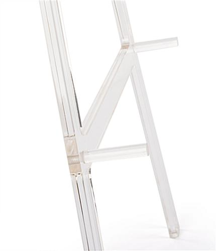 Acrylic A frame floor easel with acrylic fixed pegs for holding media