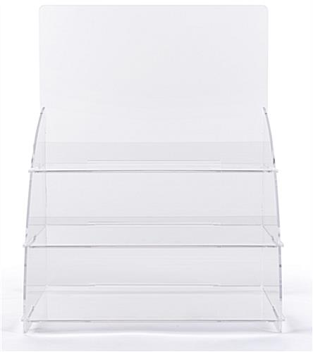 3 Tiered clear countertop merchandising stand with angled sides