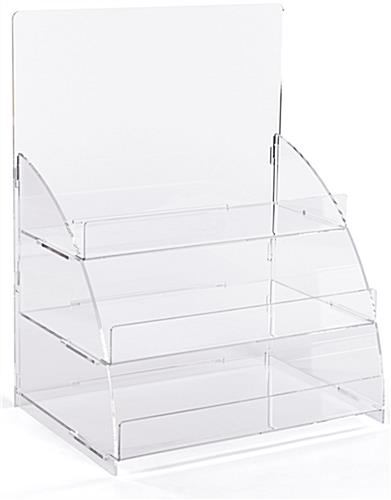 3 Tiered clear countertop merchandising stand with removable shelves