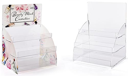 3 Tier acrylic step display with printing and graphic or non-graphic option