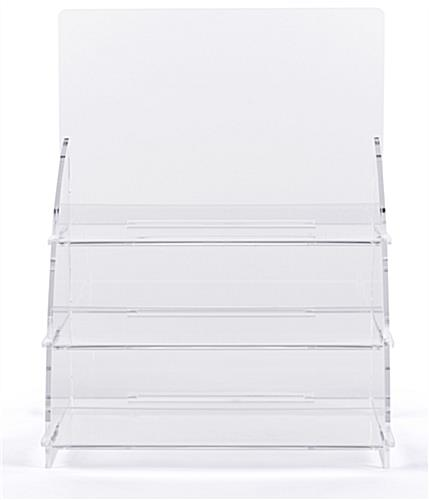 Three tiered acrylic retail countertop rack with interlocking panels
