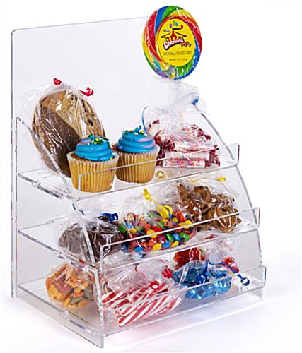 Three tiered acrylic retail countertop rack is easily portable