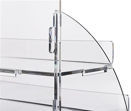 Branded acrylic portable tiered retail shelves with interlocking connectors