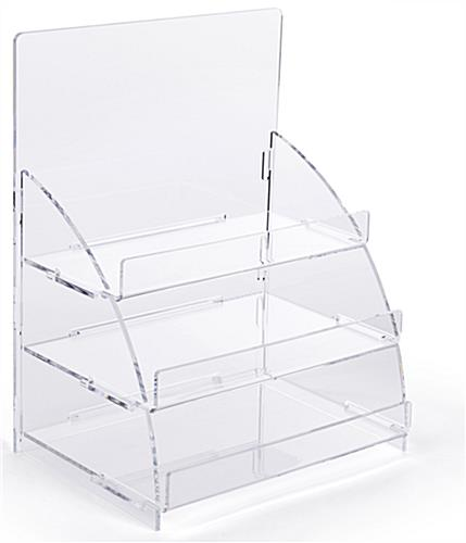 Three tiered acrylic retail countertop rack with easy assembly