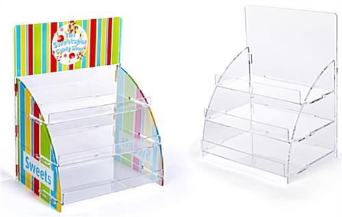 Three tiered acrylic retail countertop rack can be either custom printed or blank