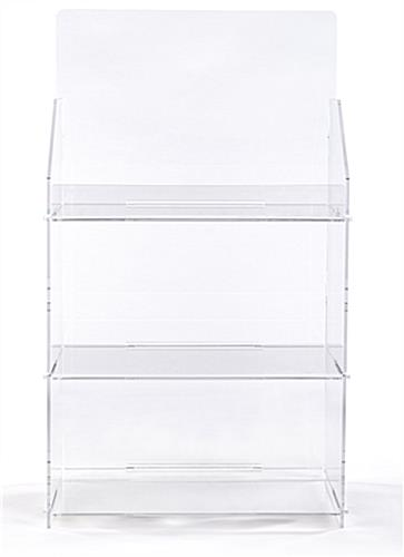 3 shelf countertop acrylic tower stand features front bent lip