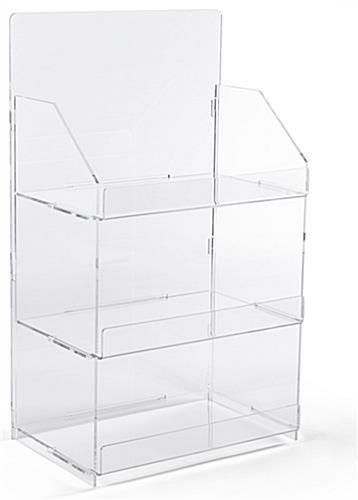 3 shelf countertop acrylic tower stand features easy assembly