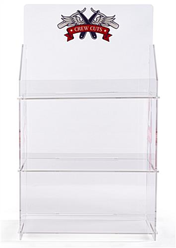 Branded acrylic portable tiered retail shelves features front bent lip on shelves