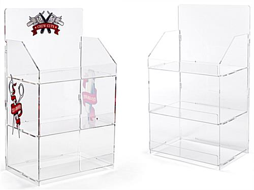3 shelf countertop acrylic tower stand, features optional custom printing