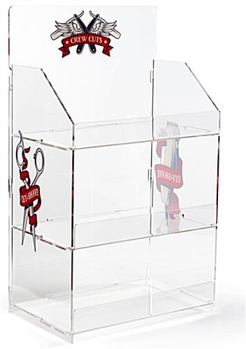 Branded acrylic portable tiered retail shelves features personalized printing