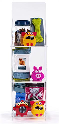 Folding acrylic 3 tier retail display case plenty of room for promotional  items