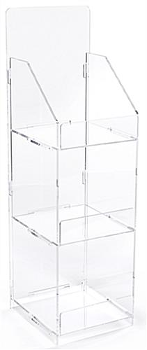 Folding acrylic 3 tier retail display case with squared sides