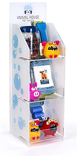 Printed countertop acrylic 3 tier shelf rack with three display levels