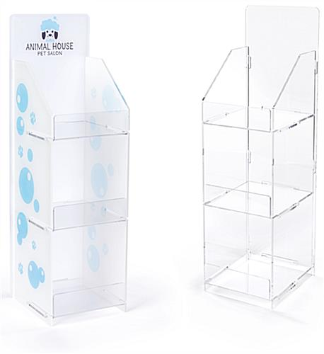 Printed countertop acrylic 3 tier shelf rack featues optional custom graphics