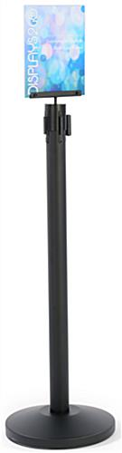 Black Acrylic Stanchion Sign Frame with Steel Pole Cap