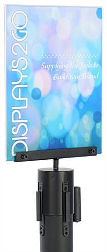 Black Acrylic Stanchion Sign Frame with U Shaped Display