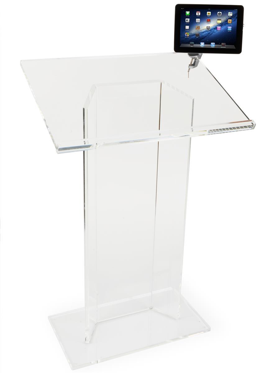 Displays2go Acrylic Podium with iPad Enclosure Clamp - Clear
