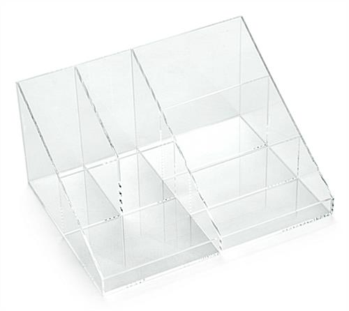 Acrylic Slanted Organizer Cosmetic Tray with Multiple Compartments