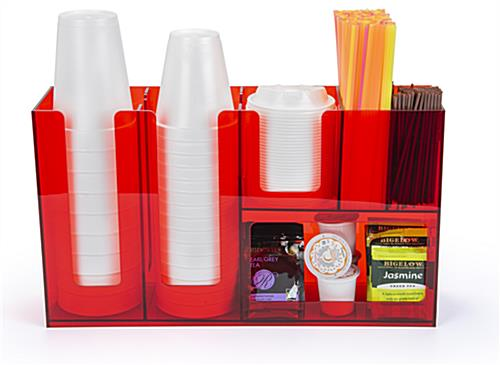 Coffee bar condiment organizer with straw and stirrer pockets