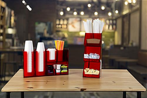 Self serve coffee bar condiment organizer for commercial use