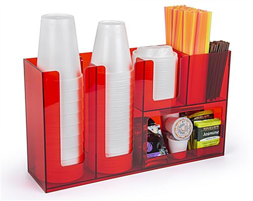 Coffee bar condiment organizer with cup slots