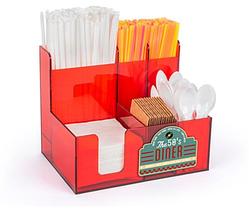 Acrylic countertop condiment organizer with customizable front