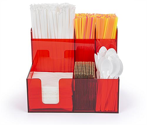 Translucent red acrylic bar organizer caddy