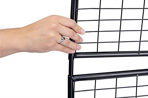 Vertically stacked 3-sided wire grid art display rack