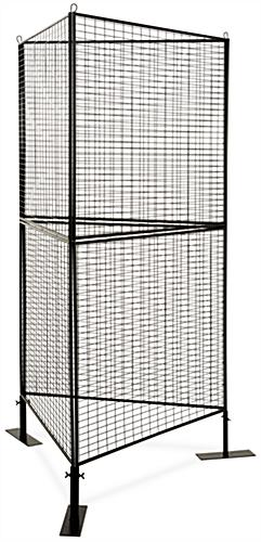 3-sided wire grid art display rack with triangle shaped design