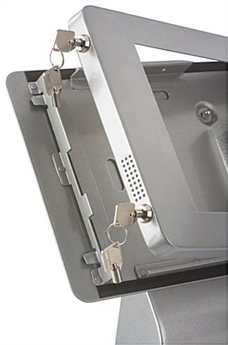 Locking iPad ADA compliant POS enclosure with two security locks
