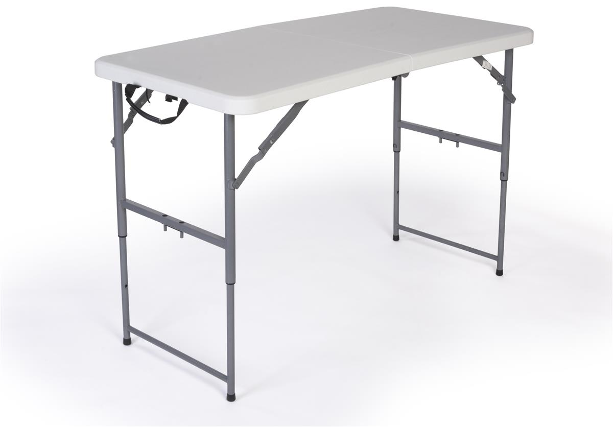 folding table with adjustable height 4 foot long with locking legs. Black Bedroom Furniture Sets. Home Design Ideas