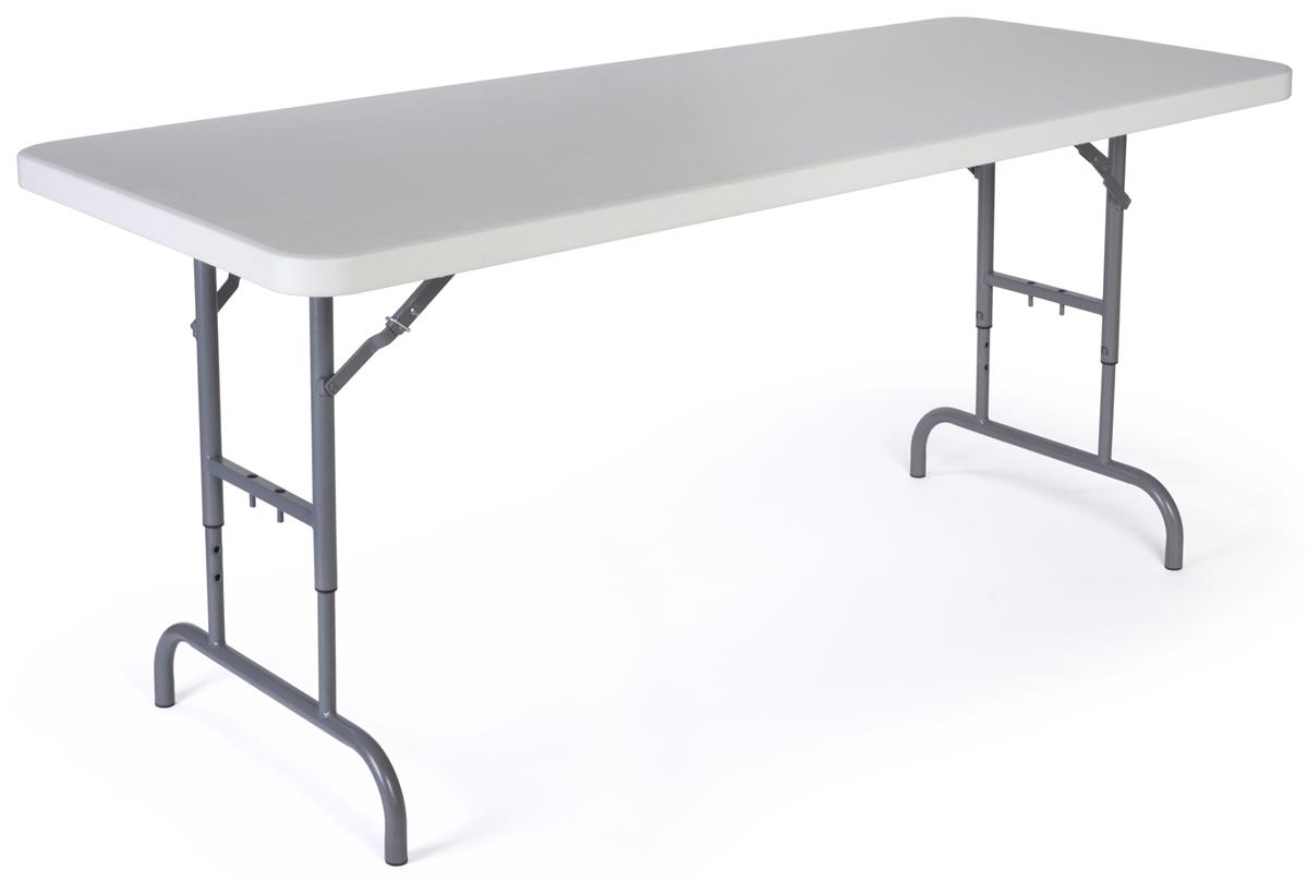 Adjustable Height Folding Table with Locking Legs 6 Foot