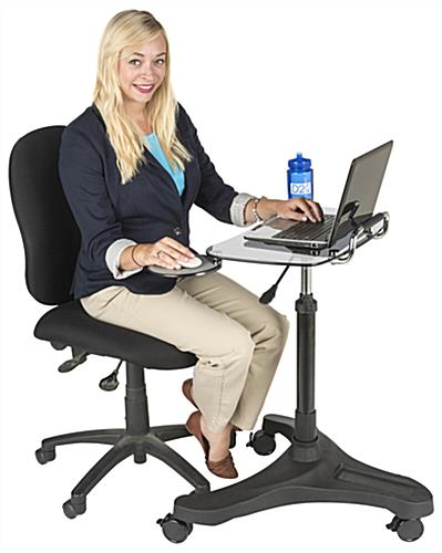 Rolling Laptop Workstation for Sitting or Standing
