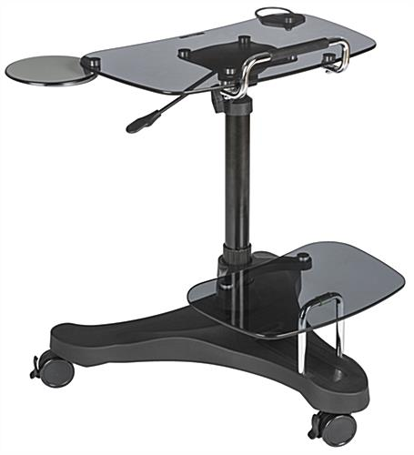 Sit To Stand Rolling Workstation with Glass Surfaces