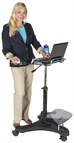 Sit To Stand Rolling Workstation with Gas Spring Lift Pole