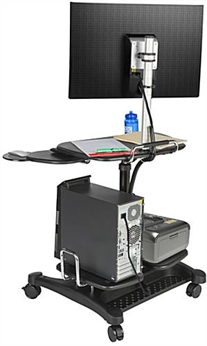 Stand Up Mobile Workstation with Multiple Shelves