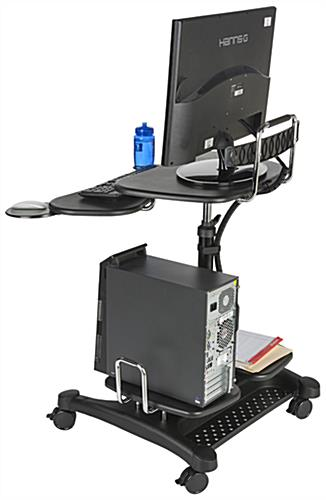 Mobile PC Workstation with Cable Management Tube