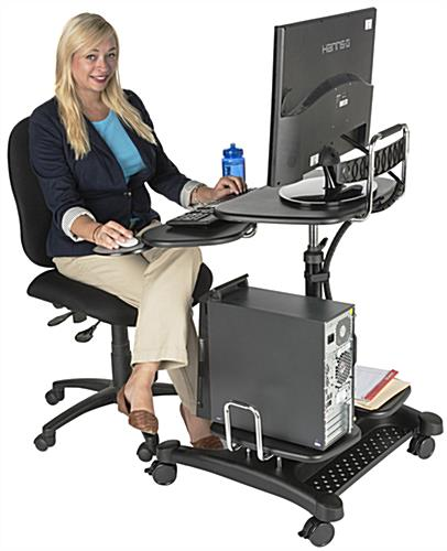 Mobile PC Workstation with Height Adjustable Lift Pole