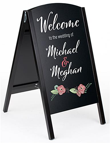 Black custom chalkboard sign with digital printing