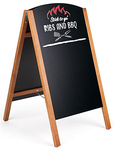 Teak digitally printed chalkboard easel with custom graphic